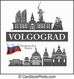 ciudad, vector, ruso, volgograd, illustration., silhouette.,...