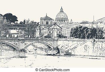 ciudad, vector, tiber, imagen, roma, catedral, paul, río,...