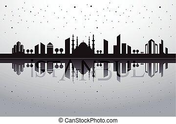 ciudad, vector, turco, paisaje, estambul