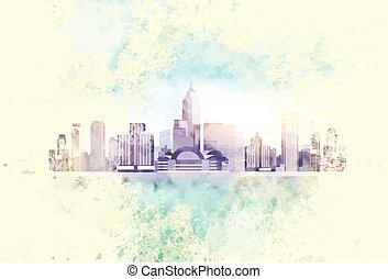 ciudad, vendimia, contorno, rascacielos, plano de fondo,...