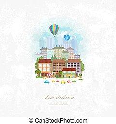ciudad, vendimia, encima, aire, caliente, invitación, globos, tarjeta