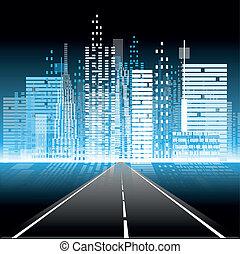 ciudad, vida nocturna, camino
