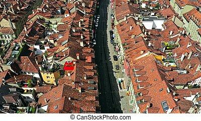 ciudad, viejo, calle, berna, suiza, vista aérea