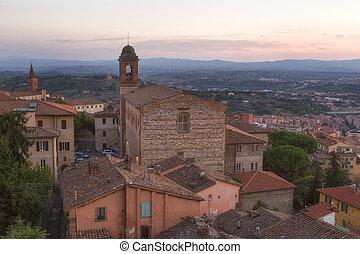 ciudad, viejo, di, perugia, umbria, chiesa, santo, italia,...