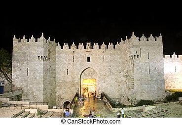 ciudad, viejo, luz, damasco, noche, puerta, jerusalén