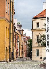 ciudad, viejo, polonia, -, calle, estrecho, varsovia