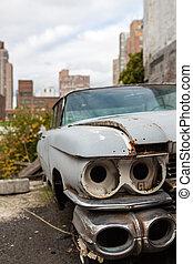 ciudad, viejo, york, coche nuevo