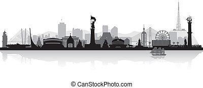 ciudad, vladivostok, silueta, contorno, vector, rusia
