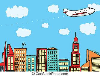 ciudad, vuelo, sobre, avión