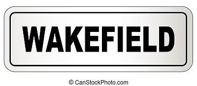 ciudad, wakefield, letrero nombre