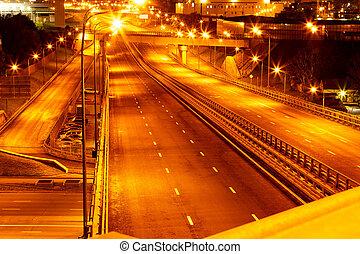 ciudad, withroad, carreteras, luces, contorno, noche, vista