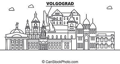 ciudad, wtih, illustration., golpes, volgograd, lineal,...