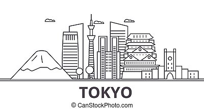 ciudad, wtih, illustration., tokio, golpes, lineal,...