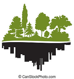 ciudad, y, bosque