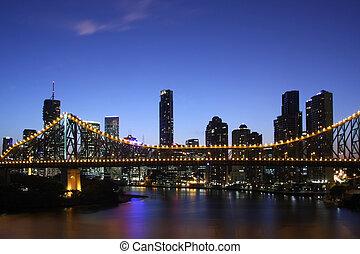 ciudad, y, el, puente