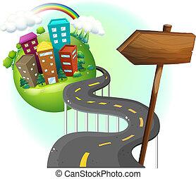 ciudad, yendo, camino, arrowboard