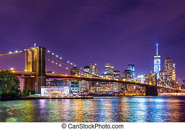 ciudad, york, brooklyn, nuevo, puente