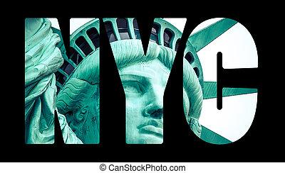 ciudad, york, estatua, libertad, nuevo
