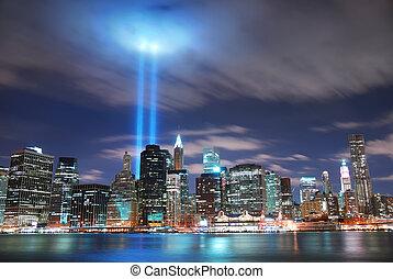 ciudad, york, manhattan, nuevo, noche