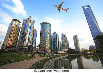 ciudad, zona, finance&trade, lujiazui, shanghai, señal, paisaje