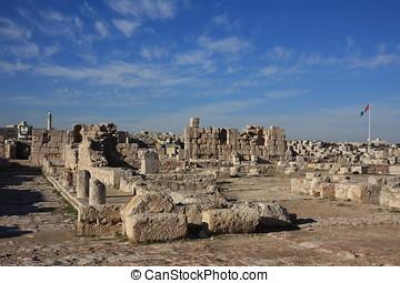 ciudadela, de, amman, en, jordania