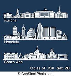 ciudades, architecture., aurora, ana., -, illustration., ...