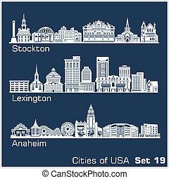ciudades, architecture., stockton, -, illustration., vector...