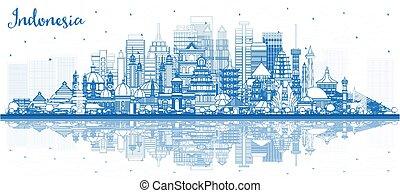 ciudades, contorno, contorno, edificios, azul, reflections...