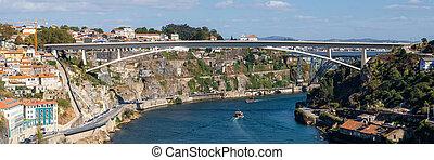 ciudades, gaia, ponte, rive, de, vila, o, nova, entre, porto...