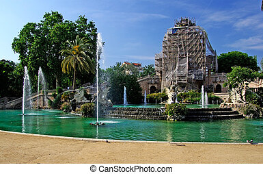 ciutadell, centre, parc, barcelona., fontaine, reconstruction, spain., bâtiment.