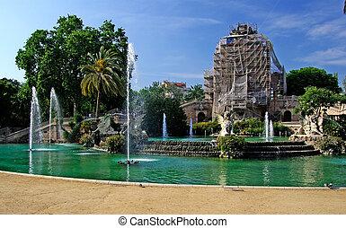 ciutadell, park, in, centrum, van, barcelona., fontijn, en, wederopbouw, van, de bouw., spain.