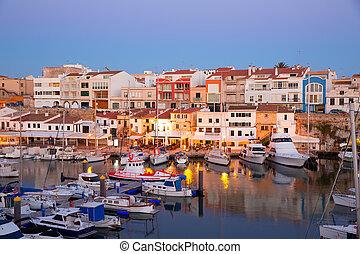 ciutadella, menorca, marina, porto, pôr do sol, com, barcos