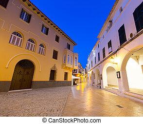 Ciutadella Menorca Ses Voltes arches Ciudadela downtown in...