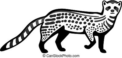 Civet Cat - vector line drawing of an african civet cat