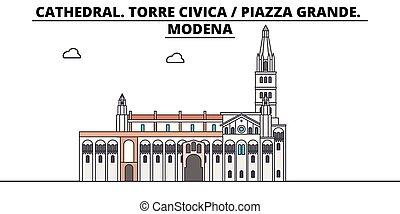 civica, illustration., viagem, grande., -, modena, linear,...