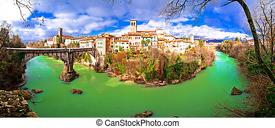 Cividale del Friuli devil's bridge and Natisone river canyon...