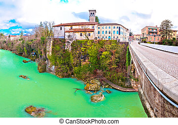 Cividale del Friuli devil's bridge and Natisone river canyon...