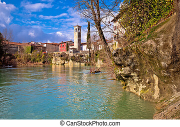 Cividale del Friuli on cliffs of Natisone river canyon view,...