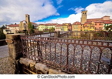 Cividale del Friuli skyline and devil's bridge above...