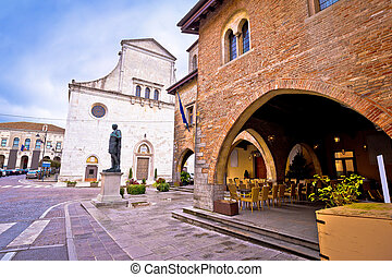 Cividale del Friuli square and church view, Friuli-Venezia...
