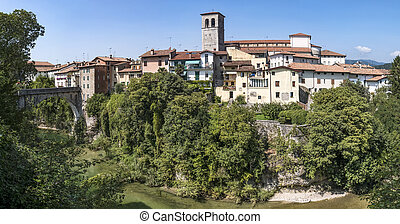 Cividale del Friuli with devils bridge and the cathedral in Italy