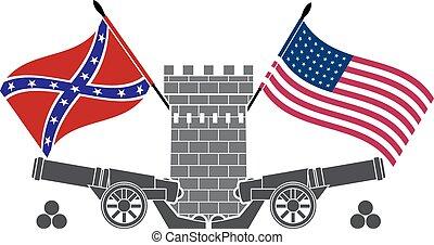 civiel, amerikaan, oorlog