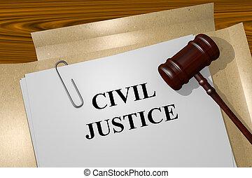 civiel, justitie, concept