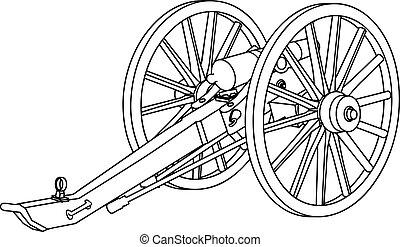 civiel, kanon, oorlog, tekening