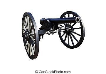 civiel, kanon, tegen, tijdperk, witte , oorlog