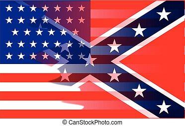 civiel, vlag, mengen, oorlog