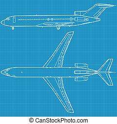 civiel, vliegtuig, moderne