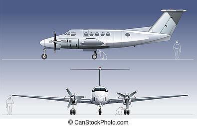 civiel, vliegtuig, vector, nut