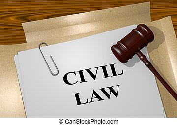 civiel, wet, wettelijk, concept