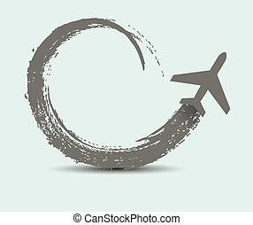 civil, út, repülőgép